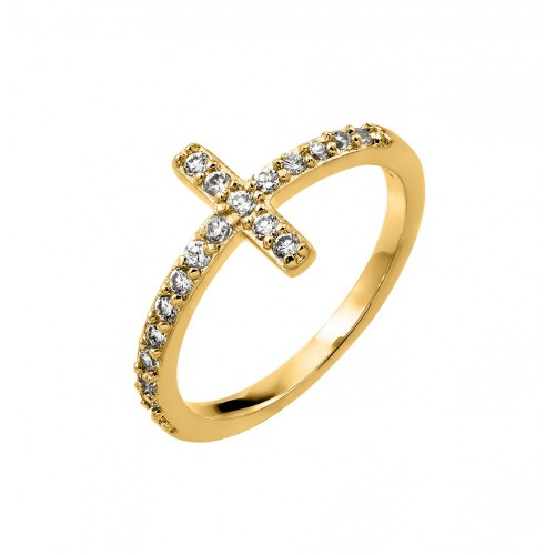 Wholesale Sterling Silver 925 Gold Plated Clear Inlay CZ Cross Ring - BGR00783GP