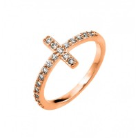 Wholesale Sterling Silver 925 Rose Gold Plated Clear CZ Cross Ring - BGR00783RGP