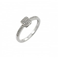 Sterling Silver Rhodium Plated Clear Inlay CZ Square Ring - BGR00785