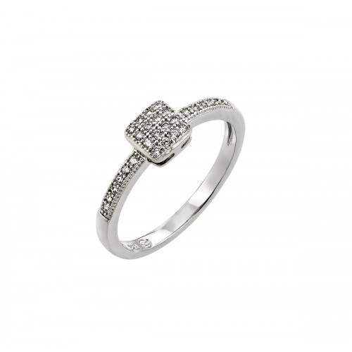 Wholesale Sterling Silver 925 Rhodium Plated Clear Inlay CZ Square Ring - BGR00785