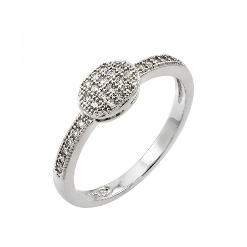 Wholesale Sterling Silver 925 Rhodium Plated Clear Inlay CZ Oval Ring - BGR00786