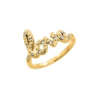 Wholesale Sterling Silver 925 Gold Plated Clear CZ Love Ring - BGR00787GP
