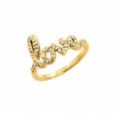 Sterling Silver Gold Plated Clear CZ Love Ring - BGR00787GP