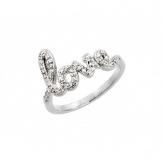 Wholesale Sterling Silver 925 Rhodium Plated Clear CZ Love Ring - BGR00787RHD
