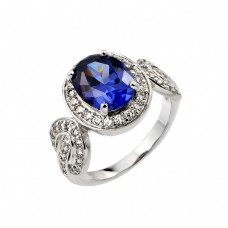 Wholesale Sterling Silver 925 Rhodium Plated Blue Center and Clear Inlay CZ Bridal Ring - BGR00788
