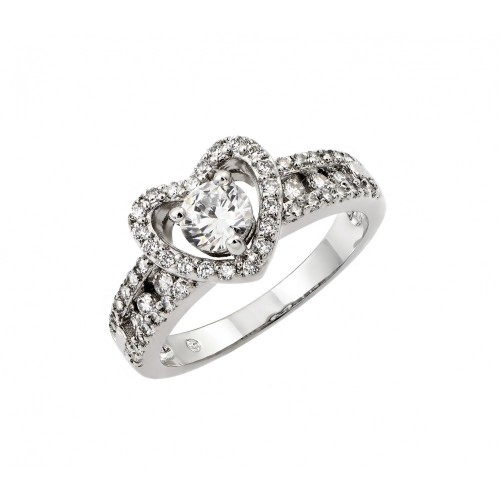 Wholesale Sterling Silver 925 Rhodium Plated Clear Round Center CZ Heart Ring - BGR00789