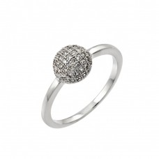 Sterling Silver Rhodium Plated Clear Pave Set CZ Bead Ring - BGR00790