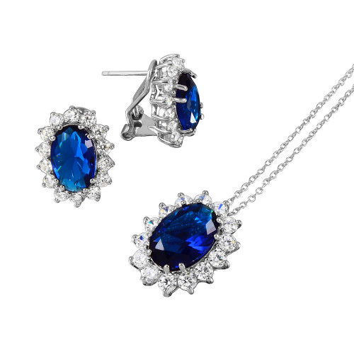 Wholesale Sterling Silver 925 Rhodium Plated Oval Halo Set with Blue and Clear CZ Stones - BGS00174