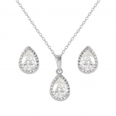 Wholesale Sterling Silver 925 Rhodium Plated Pear Birthstone Set April - BGS00441APR