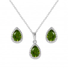 Sterling Silver Rhodium Plated Pear Birthstone Set August - BGS00441AUG