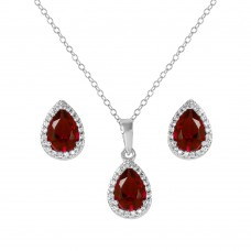 Sterling Silver Rhodium Plated Pear Birthstone Set January - BGS00441JAN