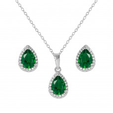 Sterling Silver Rhodium Plated Pear Birthstone Set May - BGS00441MAY