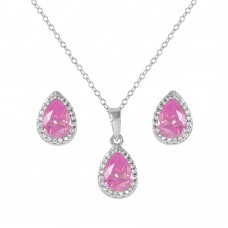 Sterling Silver Rhodium Plated Pear Birthstone Set October - BGS00441OCT