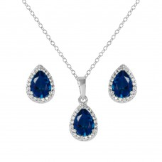 Sterling Silver Rhodium Plated Pear Birthstone Set September - BGS00441SEP