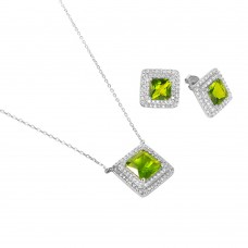 Sterling Silver Rhodium Plated Square CZ Cluster Birthstone Set August - BGS00455AUG