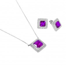 Sterling Silver Rhodium Plated Square CZ Cluster Birthstone Set February - BGS00455FEB