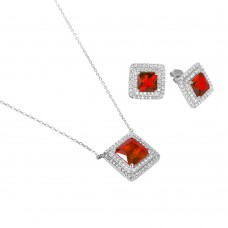 Sterling Silver Rhodium Plated Square CZ Cluster Birthstone Set July - BGS00455JUL