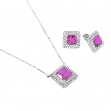 Sterling Silver Rhodium Plated Square CZ Cluster Birthstone Set June - BGS00455JUN