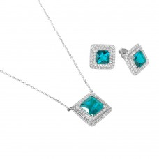 Sterling Silver Rhodium Plated Square CZ Cluster Birthstone Set March - BGS00455MAR