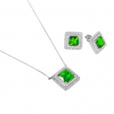 Sterling Silver Rhodium Plated Square CZ Cluster Birthstone Set May - BGS00455MAY