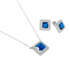 Sterling Silver Rhodium Plated Square CZ Cluster Birthstone Set September - BGS00455SEP