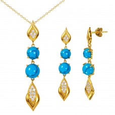 Wholesale Sterling Silver 925 Gold Plated Turquoise and CZ Hanging Set - BGS00465