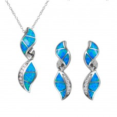 Wholesale Sterling Silver 925 Twisted Design Set with Blue Synthetic Opal and CZ - BGS00466