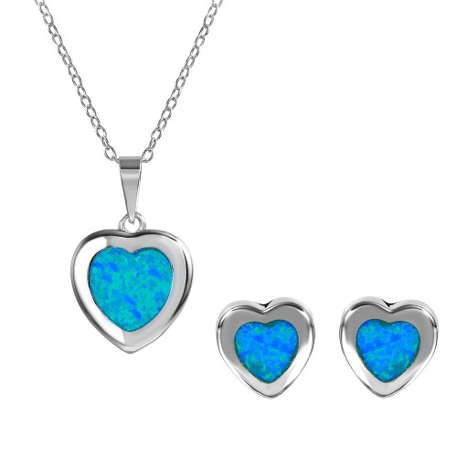 Wholesale Sterling Silver 925 Rhodium Plated Heart Set with Blue Synthetic Opal - BGS00467