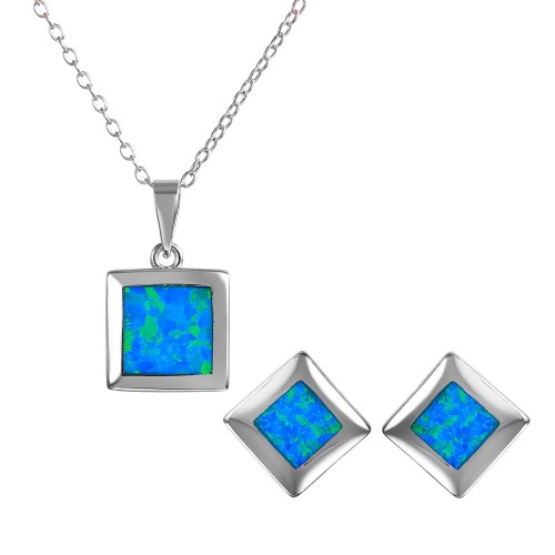 Wholesale Sterling Silver 925 Square Blue Synthetic Opal Set - BGS00468