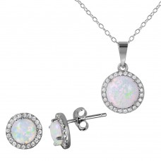 Wholesale Sterling Silver 925 Rhodium Plated Halo Set with Synthetic Opal and CZ - BGS00469