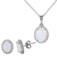 Wholesale Sterling Silver 925 Rhodium Plated Oval Halo Set with Synthetic Opal and CZ - BGS00470