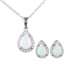 Wholesale Sterling Silver 925 Rhodium Plated Pear Opal Clear CZ Earring and Necklace Set - BGS00471