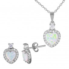 Wholesale Sterling Silver 925 Rhodium Plated Heart Set with Synthetic Pearl and CZ - BGS00472