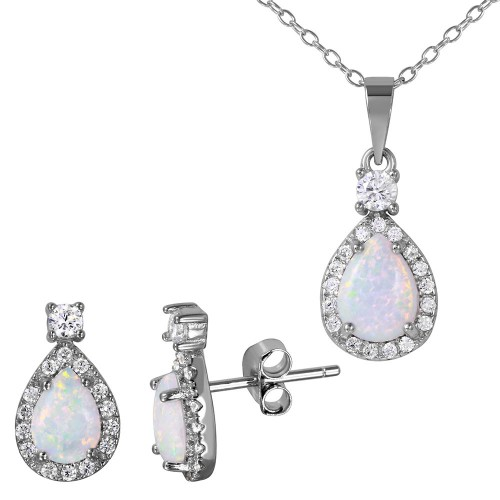 Wholesale Sterling Silver 925 Rhodium Plated Halo Teardrop Set with Synthetic Opal and CZ - BGS00473