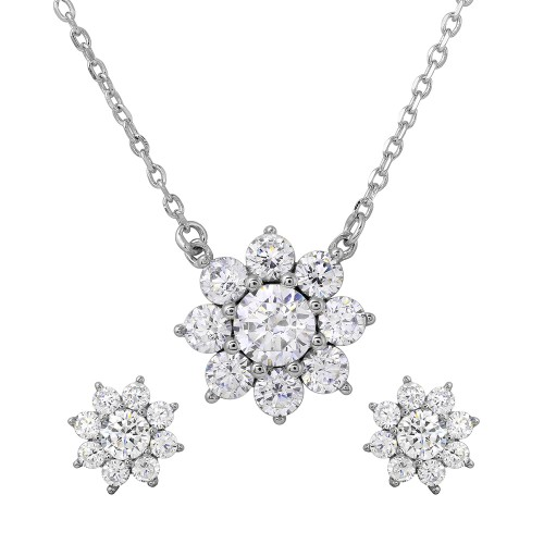 Wholesale Sterling Silver 925 Rhodium Plated Snow Flakes CZ Earrings and Necklace Set - BGS00474