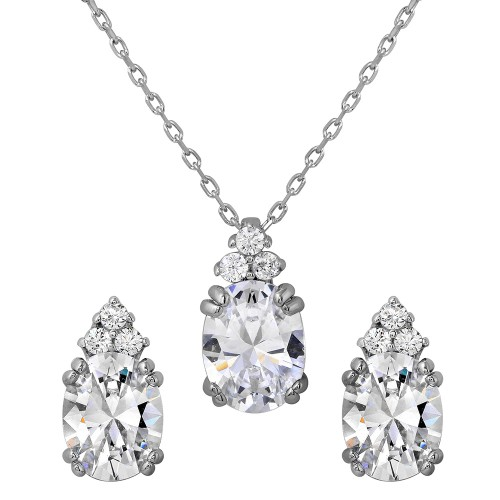 Wholesale Sterling Silver 925 Rhodium Plated Oval CZ Earrings and Necklace Set - BGS00475