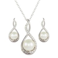 Wholesale Sterling Silver 925 Rhodium Plated Teardrop Necklace and Earring Set with Synthetic Pearl and CZ - BGS00476