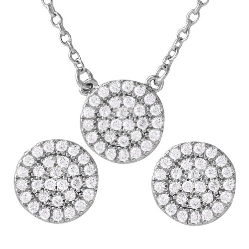 Wholesale Sterling Silver 925 Rhodium Plated CZ Encrusted Round Earrings and Necklace Set - BGS00477