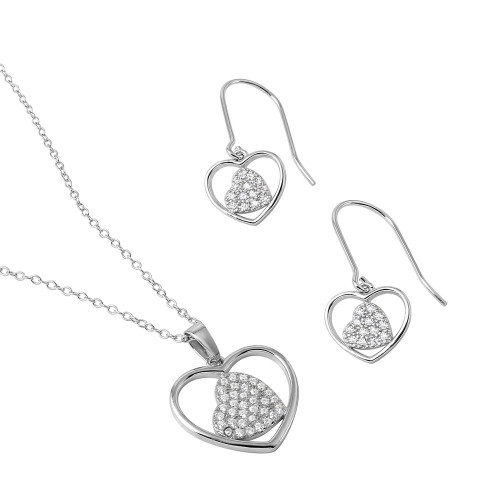 Wholesale Sterling Silver 925 Rhodium Plated Double Heart CZ Earrings and Necklace Set - BGS00478