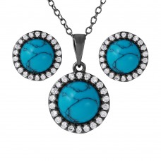 Wholesale Sterling Silver 925 Black Rhodium Turquoise Center Stone Halo Set - BGS00479