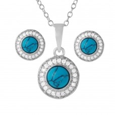 Wholesale Sterling Silver 925 Rhodium Plated Turquoise Halo Set - BGS00480