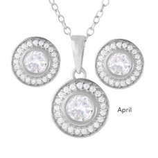 Wholesale Sterling Silver 925 Rhodium Plated Birthstones Halo CZ Sets April - BGS00481APR