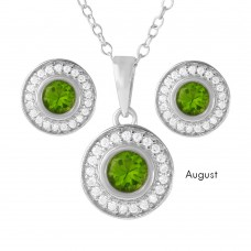 Wholesale Sterling Silver 925 Rhodium Plated Birthstones Halo CZ Sets August - BGS00481AUG