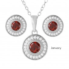 Wholesale Sterling Silver 925 Rhodium Plated Birthstones Halo CZ Sets January - BGS00481JAN