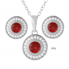 Wholesale Sterling Silver 925 Rhodium Plated Birthstones Halo CZ Sets July - BGS00481JUL
