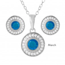 Wholesale Sterling Silver 925 Rhodium Plated Birthstones Halo CZ Sets March - BGS00481MAR