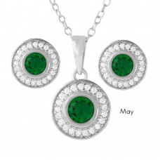 Wholesale Sterling Silver 925 Rhodium Plated Birthstones Halo CZ Sets May - BGS00481MAY