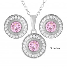 Wholesale Sterling Silver 925 Rhodium Plated Birthstones Halo CZ Sets October - BGS00481OCT
