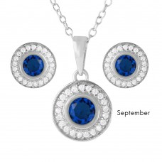 Wholesale Sterling Silver 925 Rhodium Plated Birthstones Halo CZ Sets September - BGS00481SEP