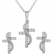 Sterling Silver Rhodium Plated CZ Cross With Sash Earrings And Necklace Set - BGS00482